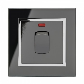Retrotouch Crystal Black Chrome Trim 20A DP Heater Switch with Neon